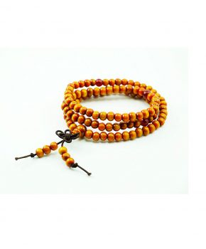 Pulsera Budista de Sándalo  Naranja con Colgante Nudo