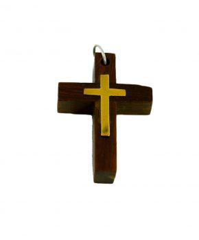 Pendiente Cruz de Madera con Interior Dorado