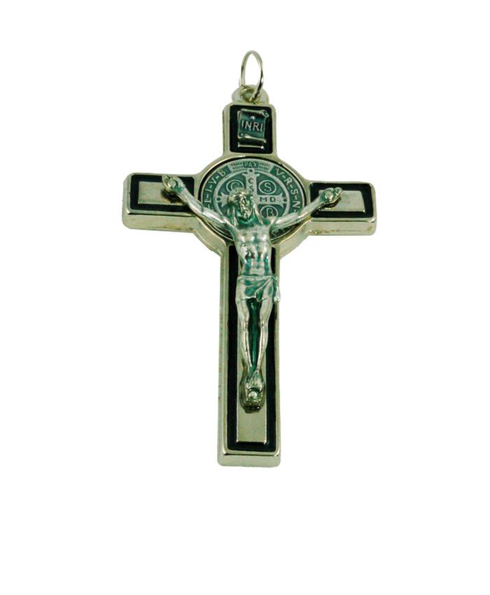 cruz negro plata 7.5 cm