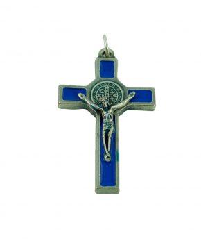 Pendiente Cruz San Benito 5 cm - Azul