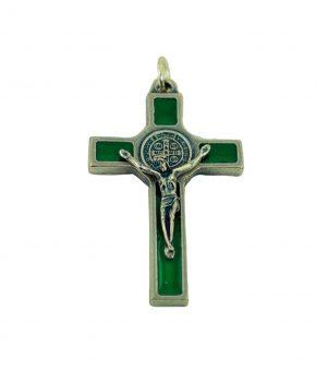 Pendiente Cruz San Benito 5 cm - Verde