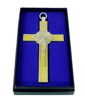 Crucifijo San Benito Plateada 12 cm Luminosa - DELUXE
