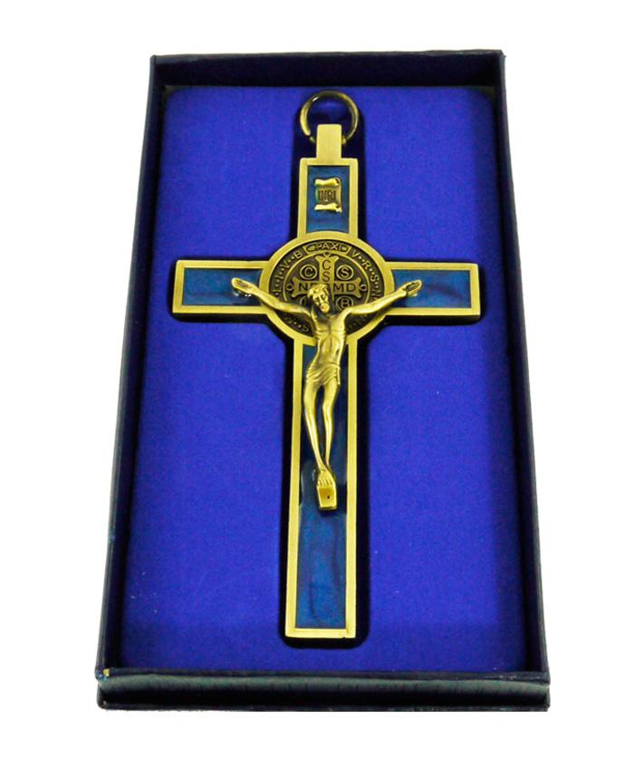 Crucifijo San Benito Bronce-Azul 12 cm- DELUXE